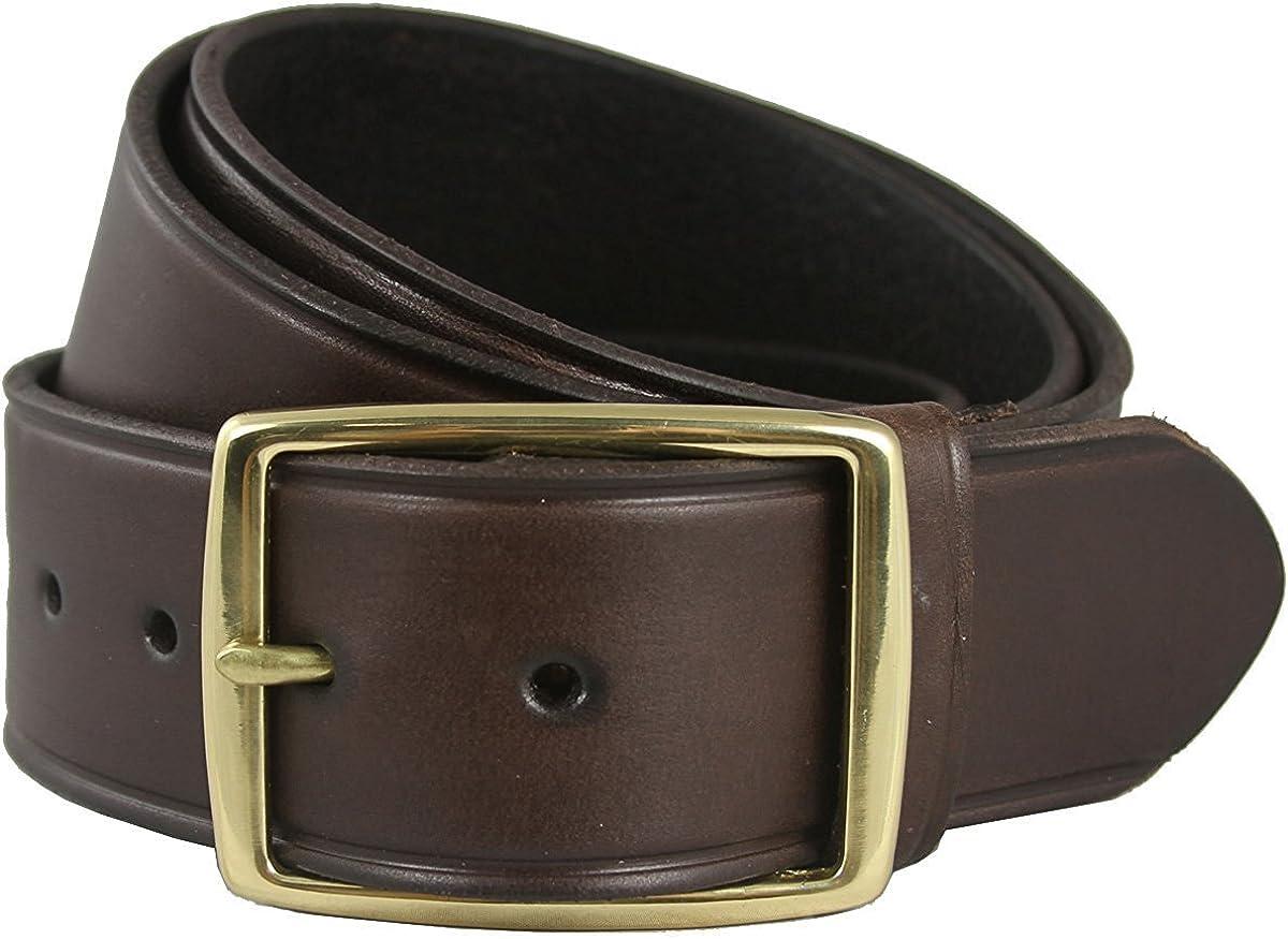 Handmade Brown Leather Belt 35mm Wide Full Grain Cow Leather Belt Brass Buckle