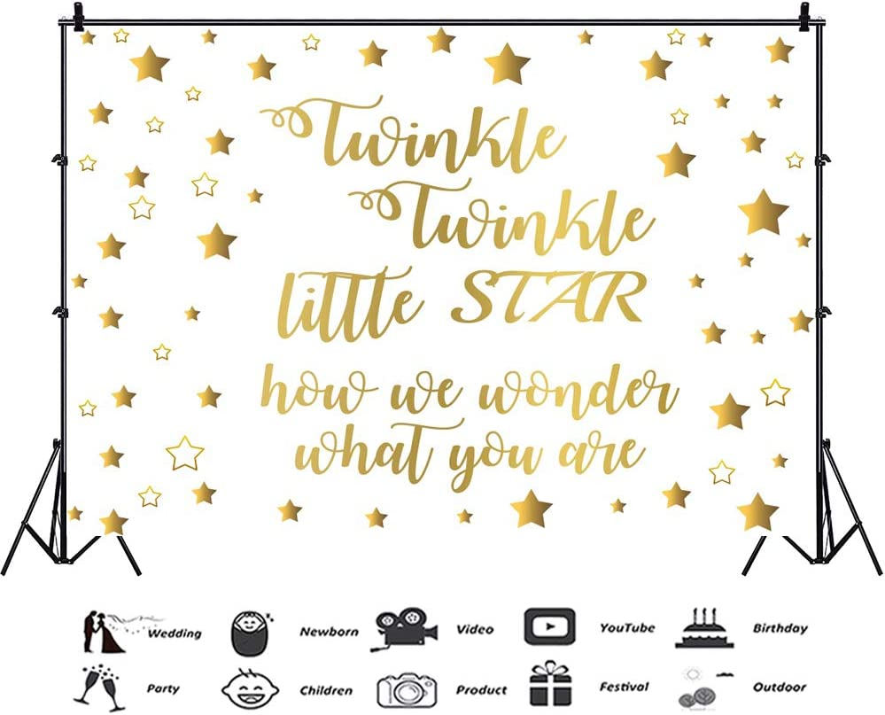 Baocicco 10x8ft Twinkle Twinkle Little Star Backdrop How We Wonder What You are Golden Stars Pattern Decor Photography Background Birthday Party Baby Shower Baby Girls Portrait Studio Video Prop