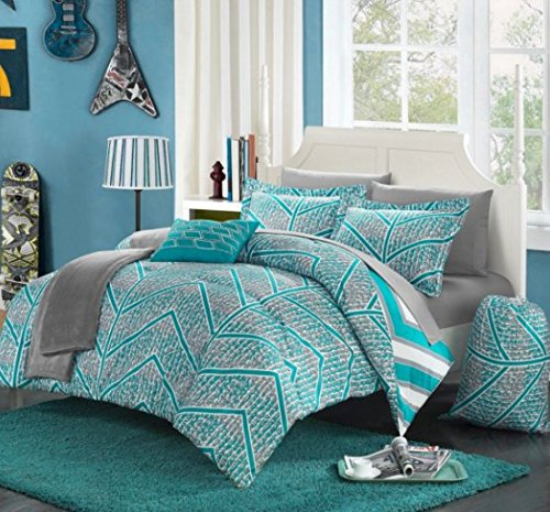 10 Piece Boys Aqua Chevron Comforter Full Set, Digital Contemporary Geometric Bedding, Stylish Horizontal Verticle Striped Pattern, Gray Pixel Pattern, Teal Sky Blue Grey White
