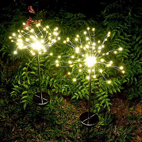Garden Solar Lights Outdoor- 2 Pack Solar Powered Decorative Stake Landscape Light-DIY Flowers Fireworks Stars for Walkway Pathway Backyard Christmas Party Decor (Warm White)