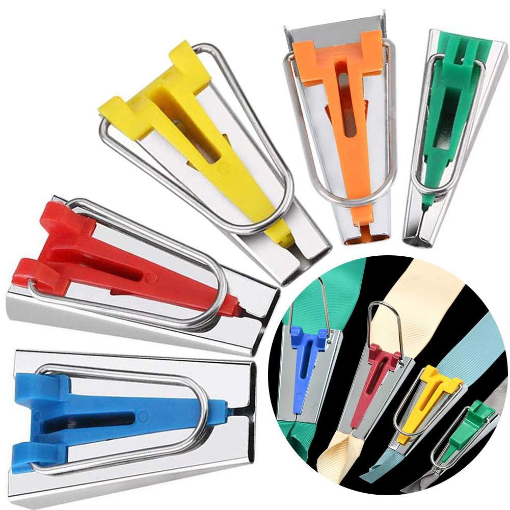 BESTZY Faire des Biais en Tissu, 5 pièces Tissu Biais Fabricant Ruban Tape Maker Set 6mm 9mm 12mm 18mm 25mm pour Ruban Décoratif Bricolage