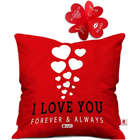 Indigifts Valentine Day Gift Love You Forever Quote Romantic Hearts Floating In Red Cushion Cover