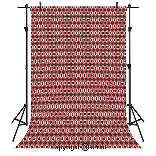 Geometric Photography Backdrops,Hexagonal Shapes Tile Pattern with Elliptic Dots Inside on Brown Backdrop,Birthday Party Seamless Photo Studio Booth Background Banner 5x7ft,Brown Coral White