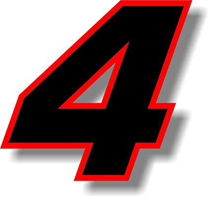 Black 4 inch race numbers with Green border number vinyl sticker graphic decal