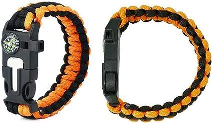 Paracord Survival Bracelet avec Boussole et Sifflet ORANGE aventure Bracelet