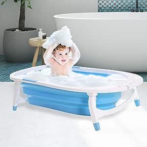 Baby Bath Tub Infant Toddlers Foldable Bathtub Folding Safety Bathing ShowerBlue Blue