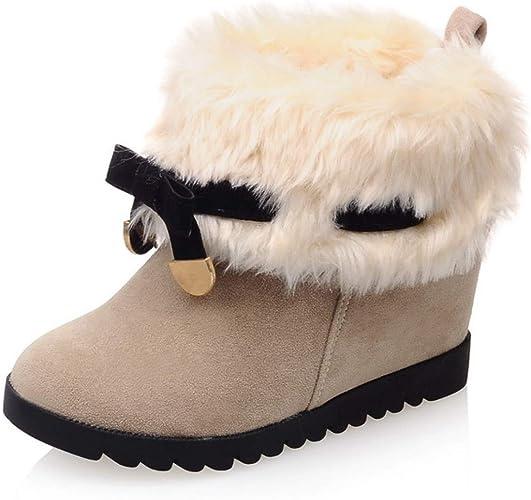 Women High Hidden Wedge Heels Fleece Lined Ankle Snow Boots Zip Flat Shoes BM
