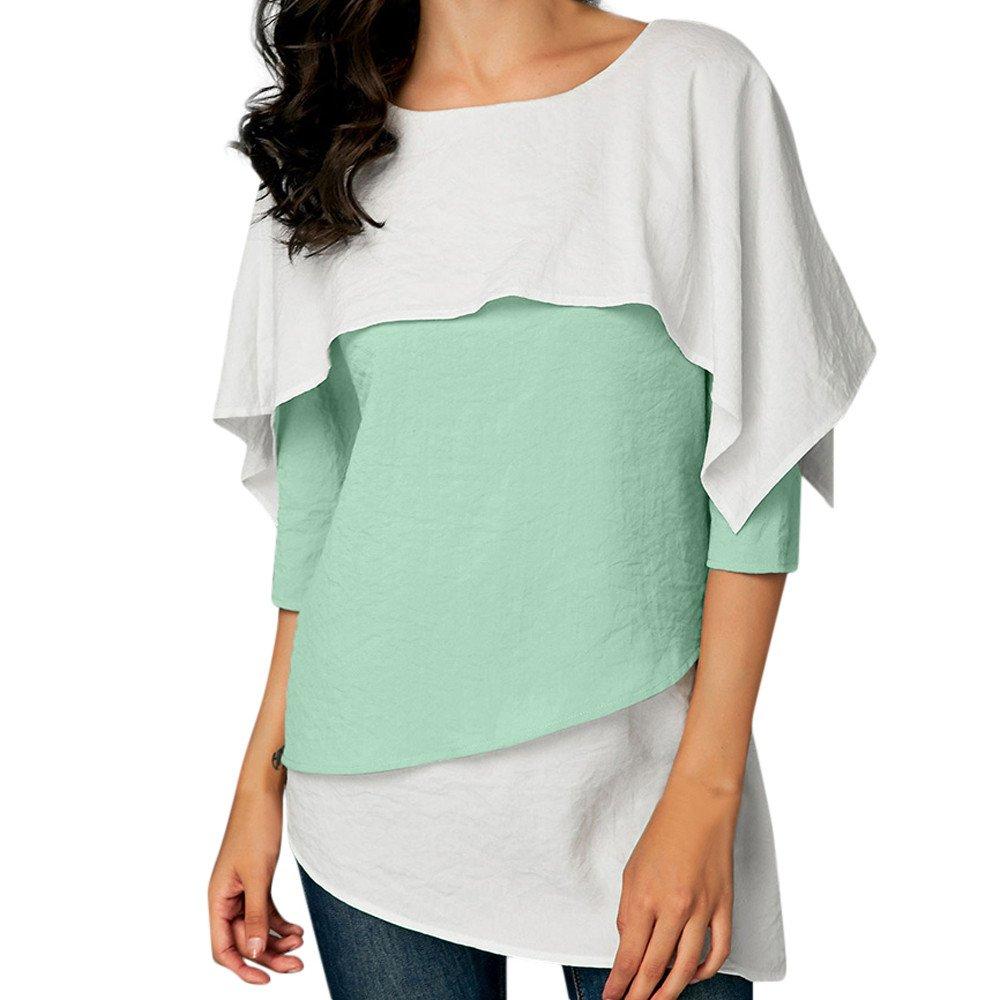 Maonet Women Colorblock Patchwork Flared Tunic Shirt Three Quarter Sleeve Tops Blouse (XL, Green)