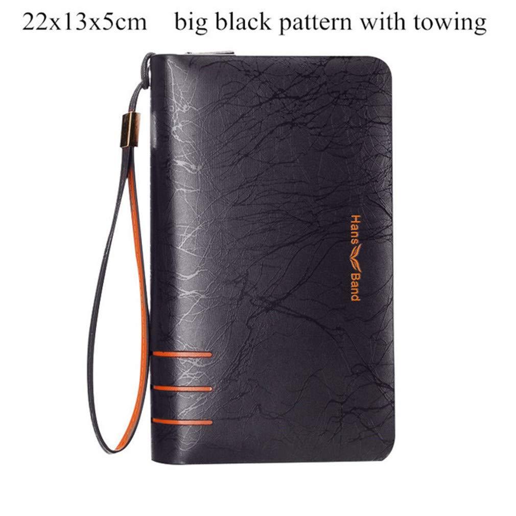 Genuine Leather Wallet Double Zipper Purse Business Wallets Mens Clutch Bag