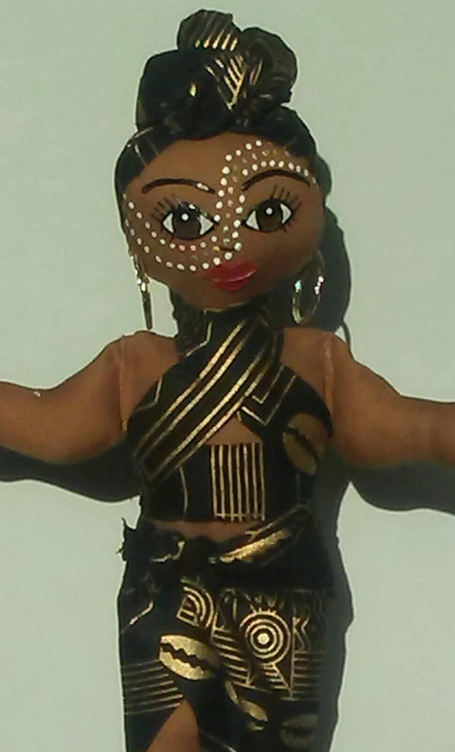 Black Doll Maker Ethnic Doll Collectible Doll Natural Hair Styles Head Wrap Multicultural Doll 11 inch Doll Black Doll African American Doll African Inspired Handcrafted Hand Painted