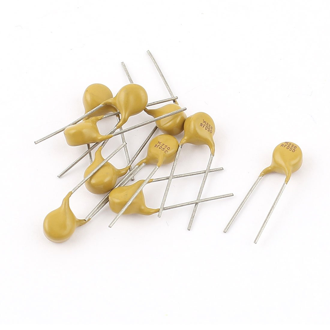 Aexit 10pcs fusible restaurable 250V 50mA Radial Leadted PPTC Polyswitch model: S2042OIV-4248TX