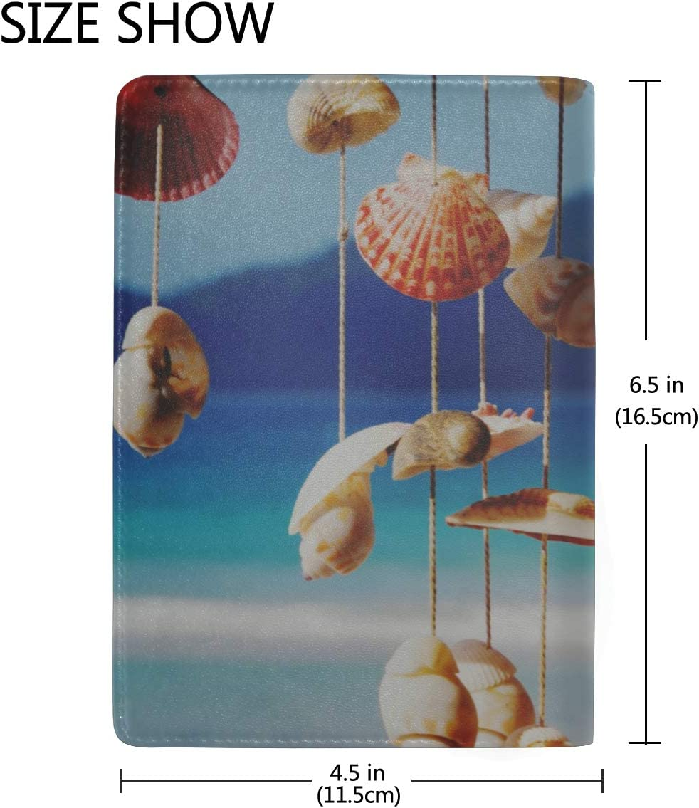 Passport Case Girls Seashore Shell Wind Bells In Summer Stylish Pu Leather Travel Accessories Passport Cover Waterproof For Women Men