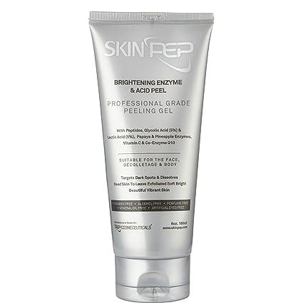 SkinPep - Esmalte brillante y pelador de ácido, 180 ml – hermosa y vibrante piel + enzimas de piña y papaya + péptidos + ácido glicólico y ácido ...