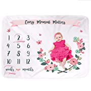 Baby Monthly Milestone Blanket for Girl | Floral Growth Calendar Blanket | Photography Prop Backdrop for Infant Newborn | Baby Shower Gift | Premium Super Soft Extra Large 40 x 60