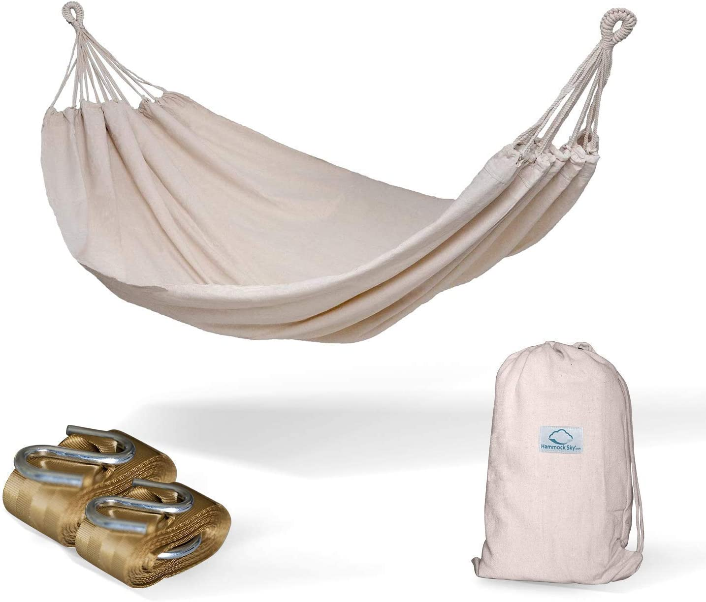 Hammock Sky Brazilian Double Hammock (Natural) with Tree Straps (Gold) - Two Person Hammock with Best Extra Long Hanging Straps 2 Pack