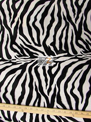 VELBOA FAUX FAKE FUR ZEBRA ANIMAL SHORT PILE FABRIC - White/Black Thin Stripe - 60