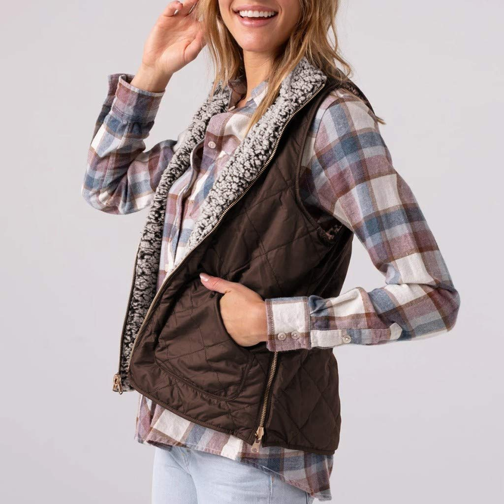 Winter Furry Waistcoat for Women,Casual Tops Solid Sleeveless Outerwear Zipper Pocket Reversible Stylish Vest Coat Brown by Sinzelimin