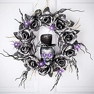 Collections Etc Lighted Skull Halloween Wreath with Black Roses and Twigs, Outdoor and Indoor Décor 2