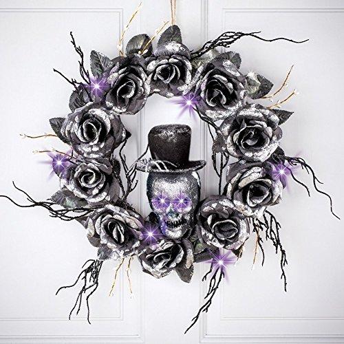 winston inc Purple LED Lights Silver Glitter Eyes Shine Spider Topped Hat Skull Black Ross Halloween Wreath Door Decor