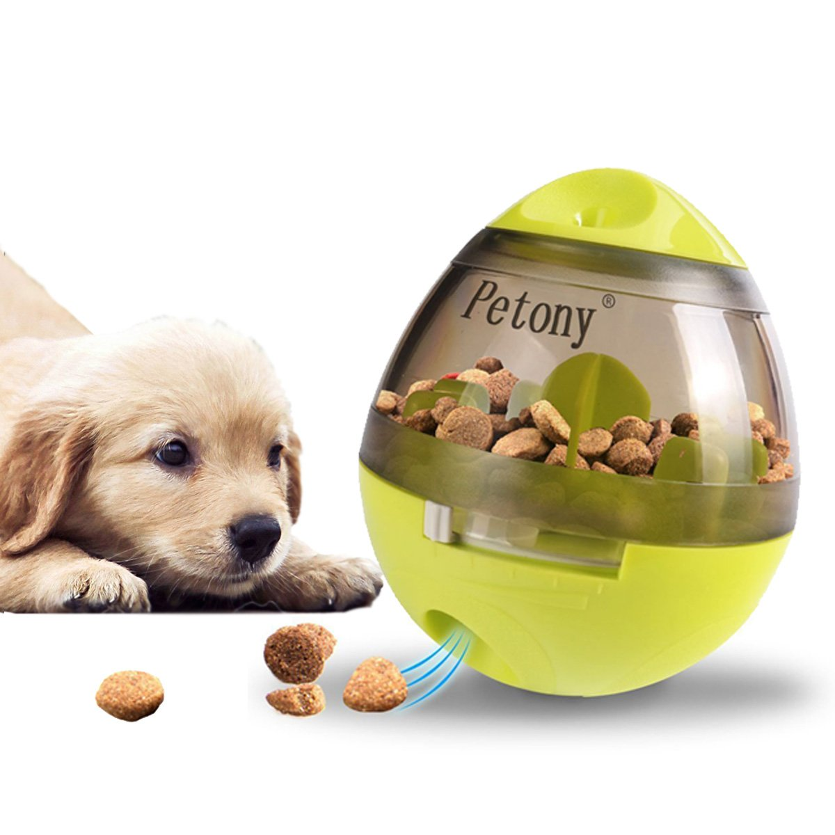 Petony Dog Food Treat Ball Toys with Holes Dispenser Cute Green IQ Puzzle Feeding Ball Toys Size: 4.7x3.9x3.9 inches