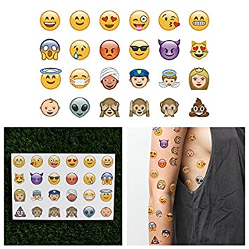 49bb27c05 Amazon.com : Tattify Smiley Emoji Temporary Tattoos - More Than 500 Emojis  Included - 15 Sheets of Assorted Emoticon Removable Tattoos : Beauty