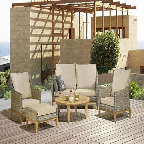 Bellagio trenzado Lounge Palau Grupo 5 piezas): Amazon.es: Jardín