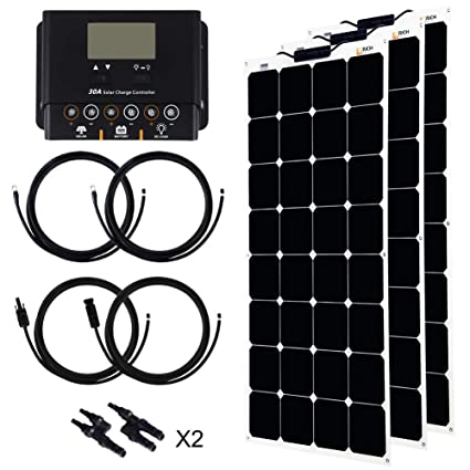 Amazon com : 300 Watt 12V Solar kit Bendable Flexible Solar Charger