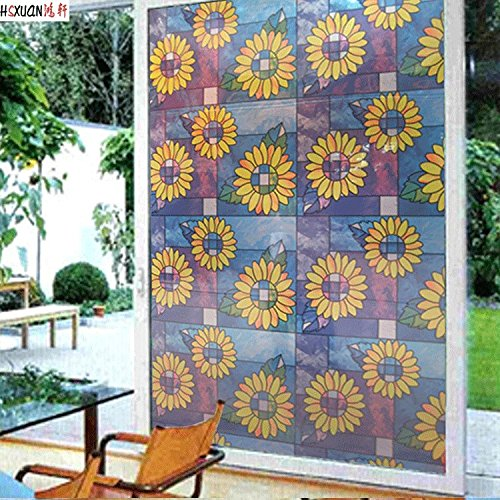 QT&QZDF Sunflower window stickers,Kitchen sliding opaque door stickers glass foil bathroom window stickers window paper for bathroom window film transparent -A 91x100cm(36x39inch)