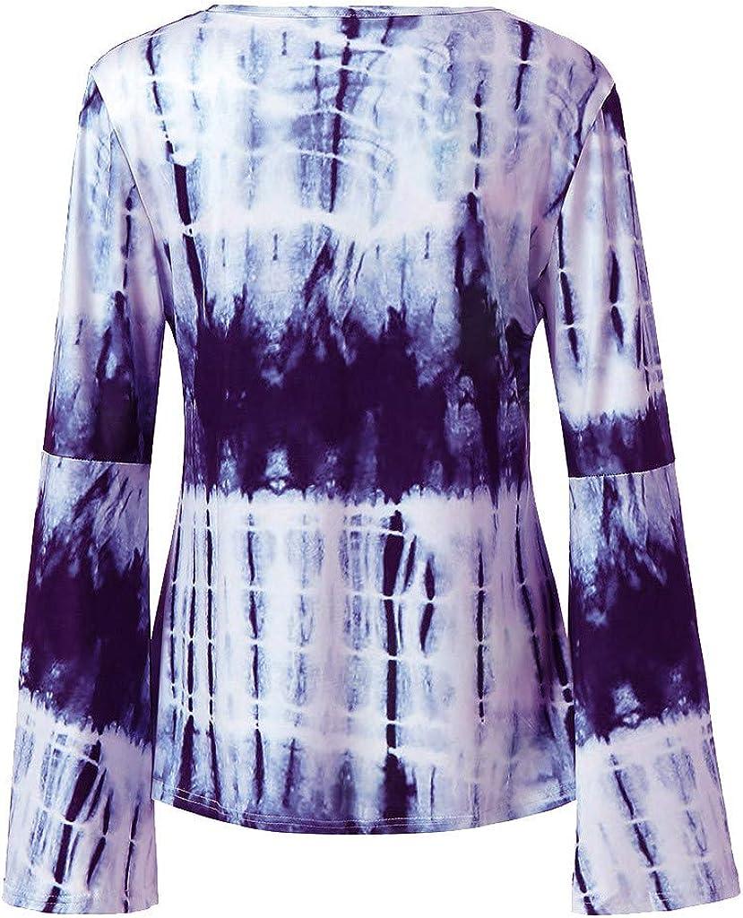 FRCOLT Womens Fashion Criss Cross V Neck Long Bell Flare Sleeve Tie Dye Shirt Top