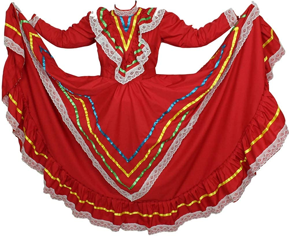Traditional Red Tapatio Jalisco Vestido Tipico Señorita Mexicano Dress - DeluxeAdultCostumes.com