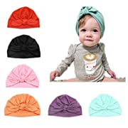 CANSHOW 6 Pcs Baby Hat Girl Newborn Beanie Cute Soft Cotton for Infant Girl Turban 3-12 Months