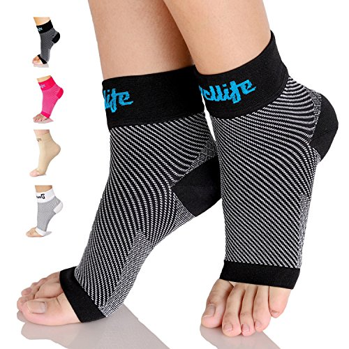 Dowellife Plantar Fasciitis Socks, Ankle Brace Compression Support Sleeves & Arch Support, Foot Compression Sleeves, Ease Swelling, Achilles Tendonitis, Heel Spurs for Men & Women (Black S)