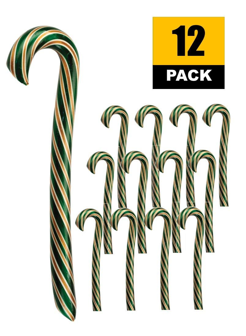 Giant Candy Canes, Caramel Apple Holiday Candy (12pk) Christmas Hard Candy by Hammond's Candies Gourmet Candy Sticks, Handmade in Small Batches since 1920 by Hammond's Candies