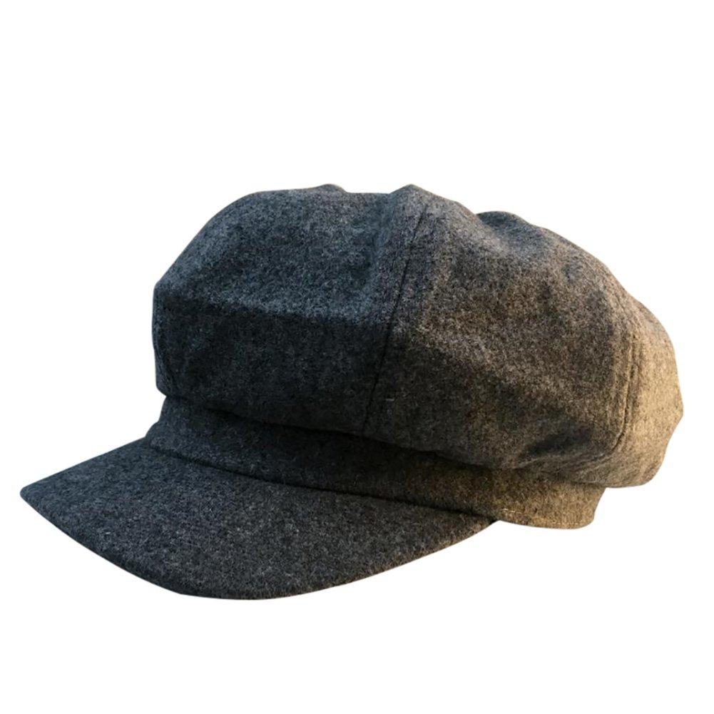 Scrox Sombrero del pintor de la señora Boinas otoño e invierno mujer paseando en elegante sombrero de calabaza Sombrero Octogonal de Mujer Sombrero del Boinas Para Mujeres (Gris)