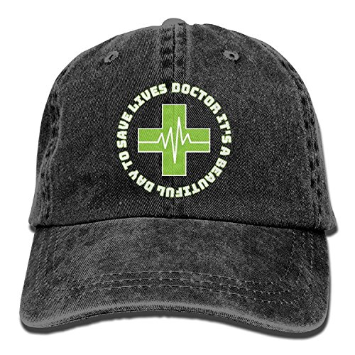 jia3261 Doctor It's A Beautiful Day to Save Lives Adjustable Denim Cap Mesh Hat (Dr Denim Snap)