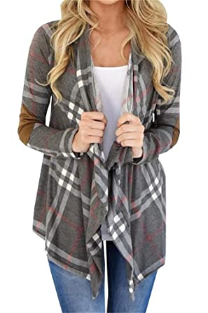 bf60939d09723a Inorin Womens Plaid Open Front Cardigan Shawl Collar Long Sleeve Elbow  Patch Draped Outwear Grey