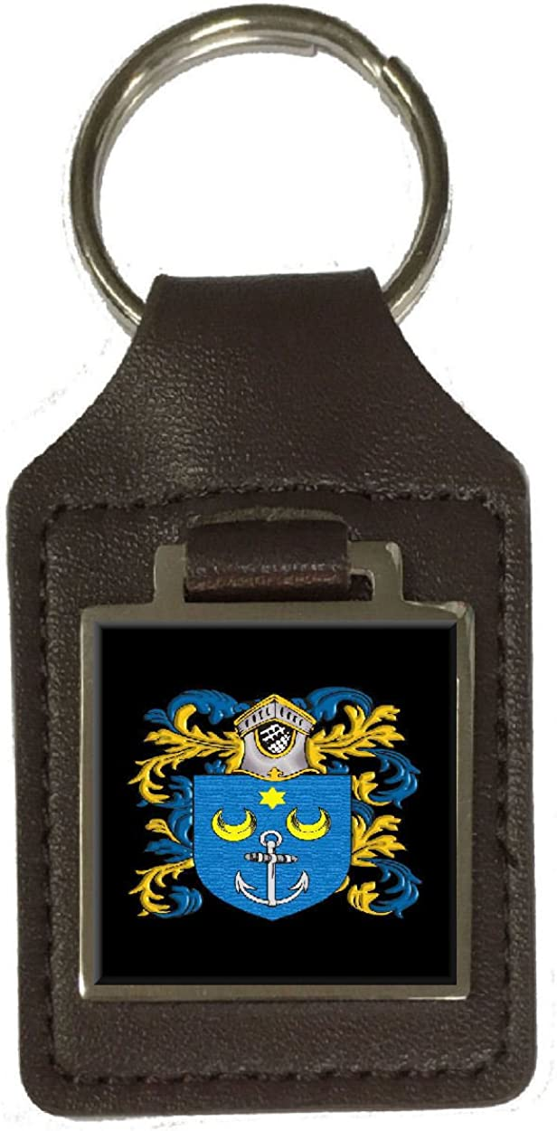 Ferrie Family Crest Surname Coat Of Arms Brown Leather Keyring Engraved