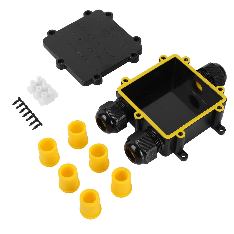 MVPOWER Set de 5pcs de Cajas de Empalmes Impermeables Cajas de Conexiones a Prueba de Agua IP66 Color Negro