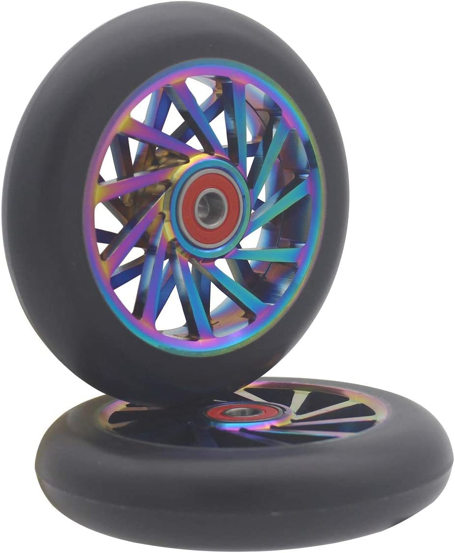 aibiku 2020 Pro Stunt Scooter Hollow Wheel 110mm - Bearings ABEC 11 Installed - 2PCS(Colorful/Black)
