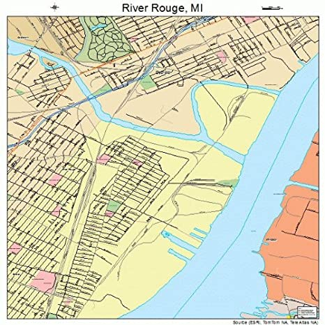 Rouge River Michigan Map.Amazon Com Large Street Road Map Of River Rouge Michigan Mi