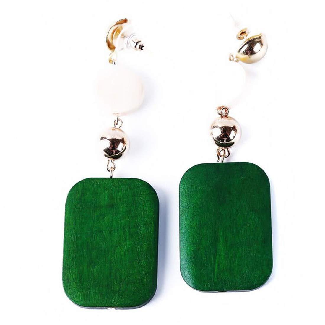 VWH Wooden Earrings Wood Pendant Earrings Ethnic Earrings Circle Earrings Geometric Earrings Banquet Gift(Green)