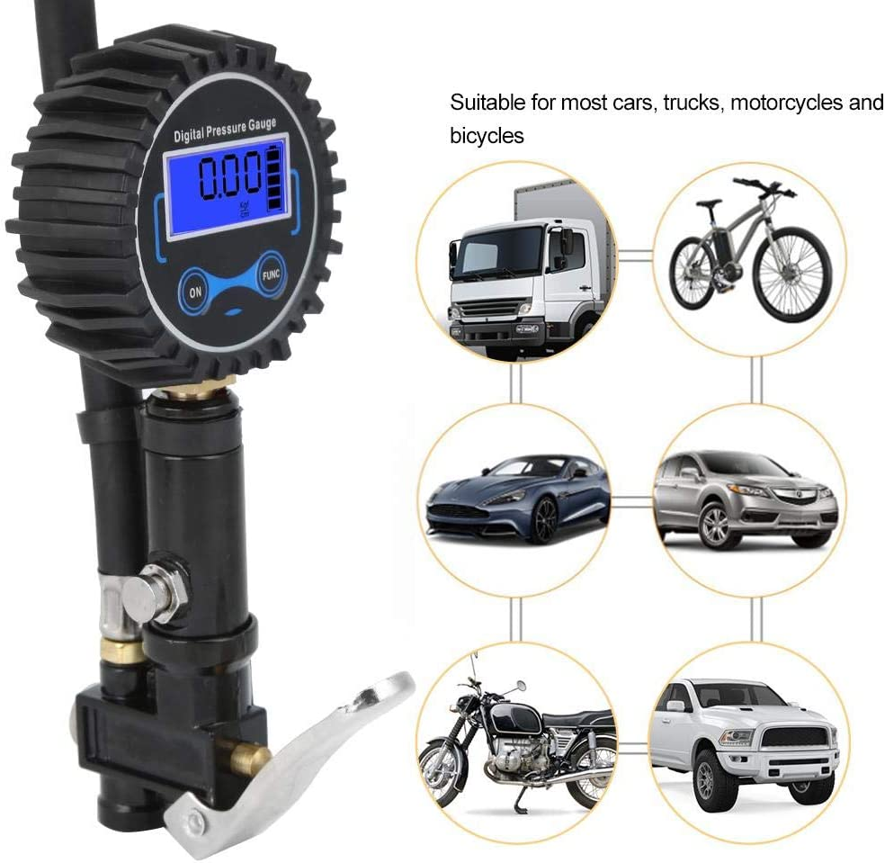 Digital Tire Inflator with Pressure Gauge LCD Display Light Auto Air Inflating Car Tire Inflator