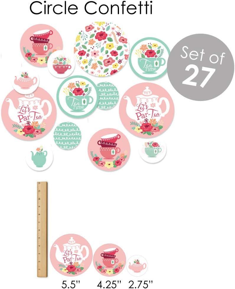 Fundle Bundle Big Dot of Happiness Floral Let/'s Par-Tea Banner Decoration Kit Garden Tea Party Supplies