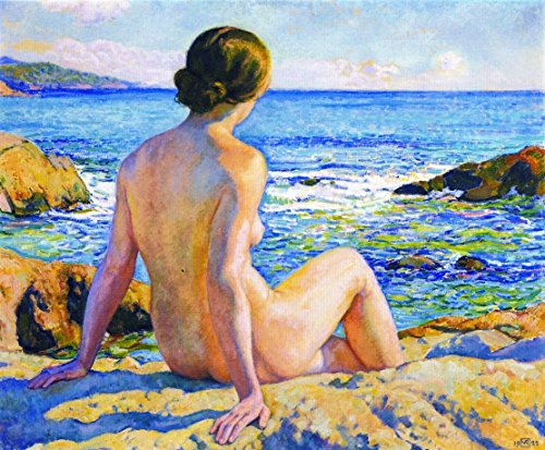 Cutler Miles Swimmer Resting by Theo Van Rysselberghe Hand Painted Oil on Canvas Reproduction Wall Art. 30x24