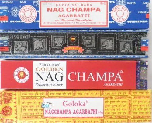 Nagg Champa Set van 4 wierookstokjesSatya Goloka Superhit Gold