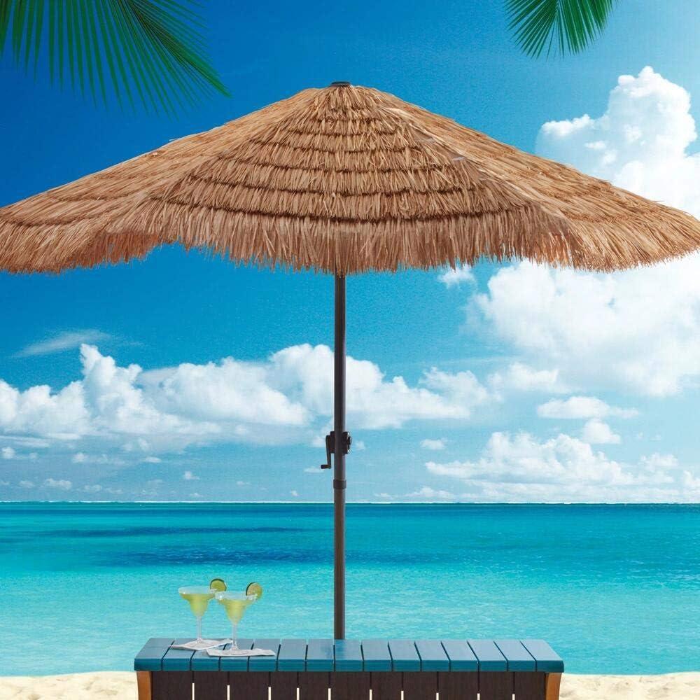 patio umbrella Sombrillas Terraza Bar Paraguas Hawaiano Tiki Paraguas 2.4m Sombrillas Playa con Manivela Sombrilla De Paja para Jardín, Playa, Decoración De Fiesta