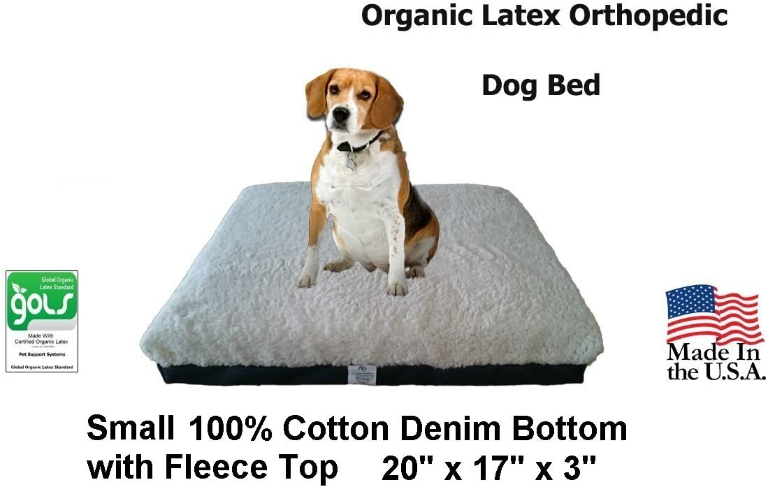 Back Support Systems Dog Bed, Organic, Small, Blue