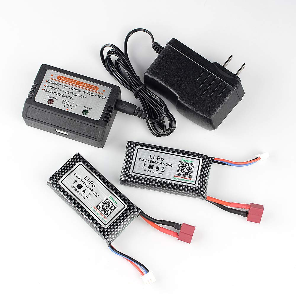 Hosim 2pcs 74v 1600mah 25c T Connector Li Polymer Lipo Balancer Seven Segments Rechargeable Battery Pack And 1pcs Balance Charger Po For 9125