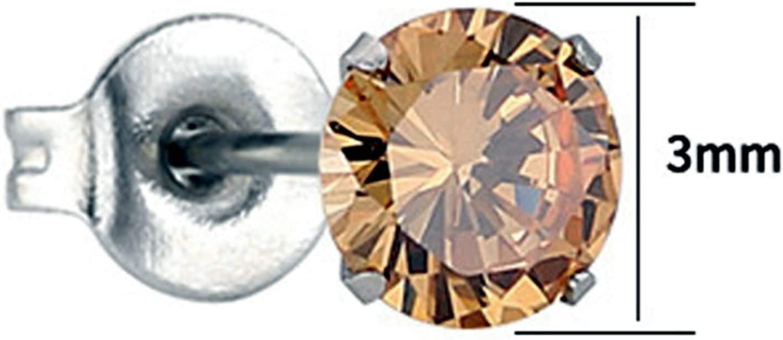5 Paar Ohrstecker Nickelfrei Edelstahl Ohrringe Herren 3Mm Runde Zirkonia Ohrringe Silber