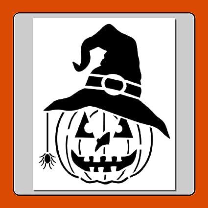 Amazon Com 6 X 7 Pumpkin W Witch Hat Spider Stencil Template Jack O Lantern Halloween Fall